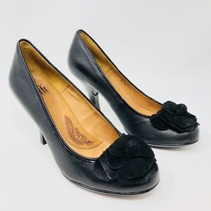 SOFFT Women Black Suede Rounded Toe Pumps Flower